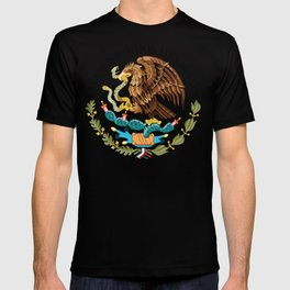 Close up of the Seal from the flag of Mexico on Adobe red background T-shirt