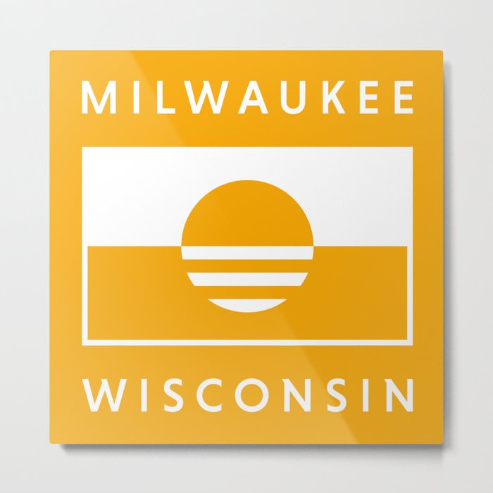 Milwaukee Wisconsin - Gold - People's Flag of Milwaukee Metal Print