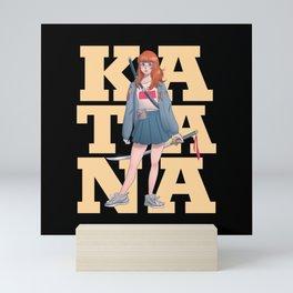 KATANA ANIME GIRL Mini Art Print