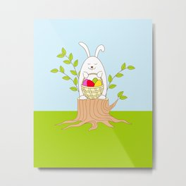 funny rabbit on the stump Metal Print