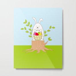 funny rabbit on the stump Metal Print