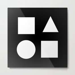 Minimal Shapes White Metal Print