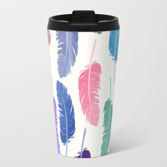 Colorful Feathers Metal Travel Mug
