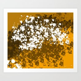 Orange and brown abstract paint patches Art Print