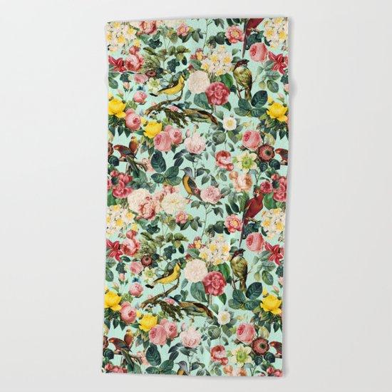 Floral and Birds III Beach Towel