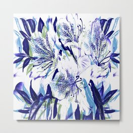 Royal Blue Floral Abstract Metal Print