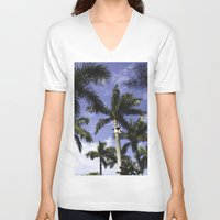 palms V-neck T-shirts featuring Palms by Chrissy Jenks