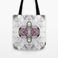 duvet cover Tote Bags featuring Flower Duvet Cover by Tintedfaint