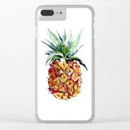 Pineapples, pineapple art design watercolor tropical HAwaiian kitchen art Clear iPhone Case