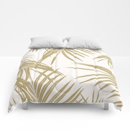 Gold Palm Leaves Dream #1 #tropical #decor #art #society6 Comforters