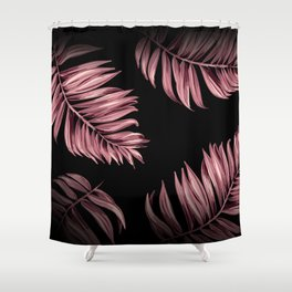 Rose Pink Palm Leaves Shower Curtain