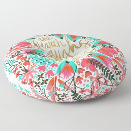 The Earth Laughs in Flowers – Pink & Gold Floor Pillow