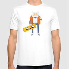 Marty McFinn & Jake the Hoverboard SMALL White Mens Fitted Tee