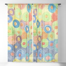 Traveling in Colorful Art Circles Sheer Curtain