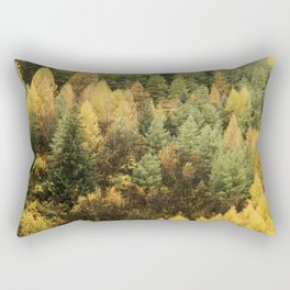 Autumn colour on hillside of trees Rectangular Pillow