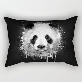 Cool Abstract Graffiti Watercolor Panda Portrait in Black & White  Rectangular Pillow