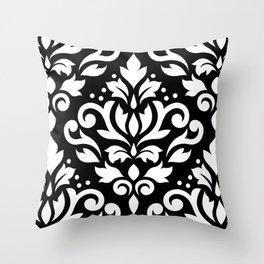 Scroll Damask Large Pattern White on Black Throw Pillow