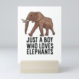 Just a Boy Who Loves Elephants Mini Art Print