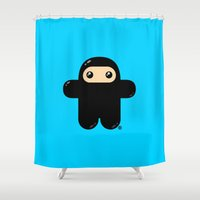 pee wee Shower Curtains featuring Wee Ninja by Shawnimals