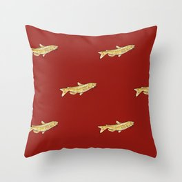 Watercolor Catfish Repeat Red Background Throw Pillow