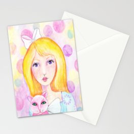 Whimsy Girl with Pink Cat Stationery Cards