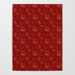 Holy Berries Red and Gold Poster