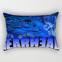 Gear Head:Flaming Blue Skull Rectangular Pillow
