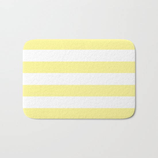 Simply Stripes in Pastel Yellow Bath Mat