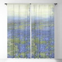 Meadow of Wild Blue Irises, Springtime by Maria Oakey Dewing Sheer Curtain