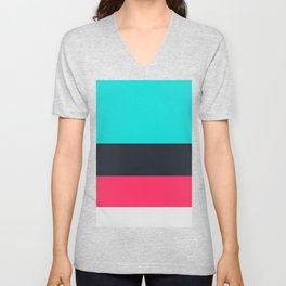 Perfect Colors Combination, Bright Turquoise, Charade, Radical Red, Gallery Unisex V-Neck