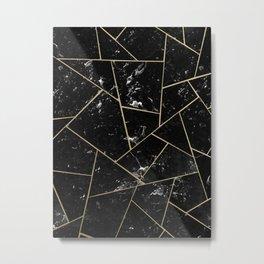 Black Marble Gold Geometric Glam #1 #geo #decor #art #society6 Metal Print