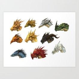 wings of fire head dragon Art Print