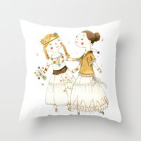 hippie Throw Pillows featuring Hippie Girls by Judith Loske