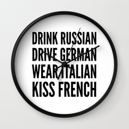 Russian German Italian French Wall Clock