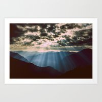 mountains Art Prints featuring mountainS Dark Sunset by 2sweet4words Designs