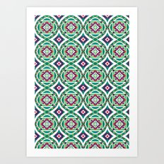 Ethnic Geometric Moroccan Watercolor Seamless Patern 4 Art Print