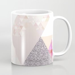Triangles in glittering Rose quartz - pink glitter triangle pattern Coffee Mug