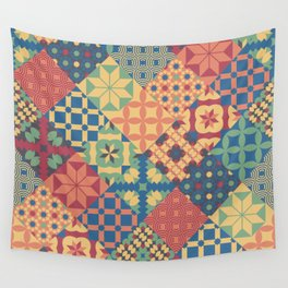 Leiden vintage cheater quilt colorful geometric design Wall Tapestry