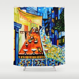 Cafe Terrace - Homage to Van Gogh Shower Curtain