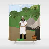 colombia Shower Curtains featuring Indian tribe Kogi of Colombia  by Design4u Studio