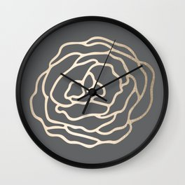 Rose White Gold Sands on Storm Gray Wall Clock