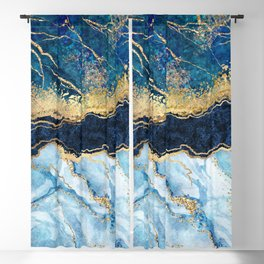 Abstract blue marble texture, gold foil and glitter decor, painted artificial indigo marbled surface, fashion marbling illustration Blackout Curtain