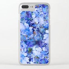 Wild Blue Rose Garden Clear iPhone Case