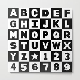Alphabet Black and White Metal Print