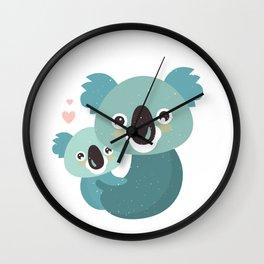 Cute Koala Family Cartoon Wall Clock