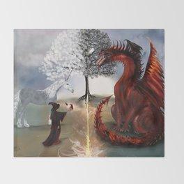 The Owl,Wizard,Unicorn and the Dragon Throw Blanket
