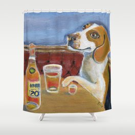 One Beagle, One Scotch, One Beer Shower Curtain