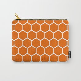 Bright orange and white honeycomb pattern Carry-All Pouch