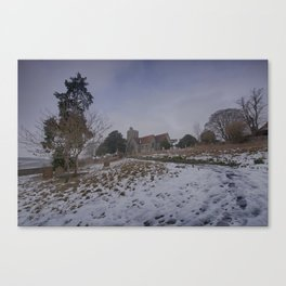 Boughton Church In Winter Canvas Print