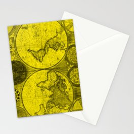 World Map (1794) Yellow & Black  Stationery Cards